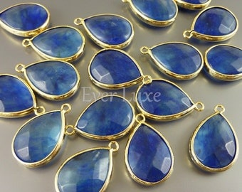 5069G-BW (2 pcs) Blue Water / Gold Faceted large tear drop with simple frame pendants