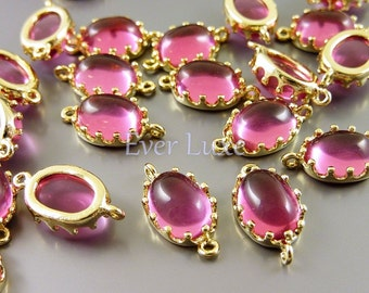2 Colorful ruby red domed smooth oval glass connectors in crown setting for jewelry earrings necklace 5037G-RU (bright gold, ruby, 2 pieces)