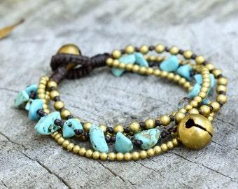 Turquoise Brass Chain Kid Bracelet