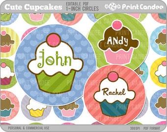 1 Inch - Editable PDF (4x6) - Cute Cupcakes Digital Collage Sheet (No. 212) - 1 Inch Circles