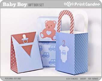 Baby Boy - Printable Party Favor Boxes / Party Favor Set - Personal Use Only - Printable - DIY