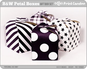 Black & White Petal Boxes - Printable Party Favor Boxes / Party Favor Set - Personal Use Only - Printable - DIY