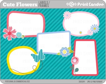 Cute Flower Frames - Personal and Commercial Use - digital clipart clip art label modern sweet pretty butterfly