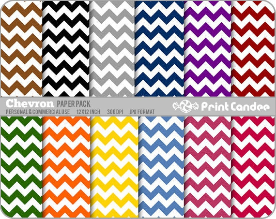 Chevron Paper Pack (12 Sheets) - Personal and Commercial Use - floral retro mod funky fun