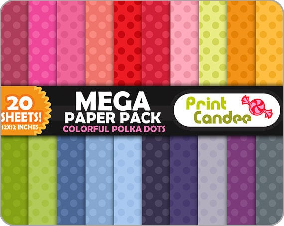 Mega Paper Pack (20 Sheets) - Colorful Polka Dots - Personal and Commercial Use - wallpaper, printable, paper goods