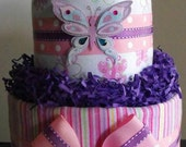 2-Tier Butterfly Diaper Cake