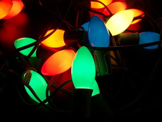 Retro Christmas String Lights : Vintage String of 24 Multi Color Christmas Lights Large Bulbs