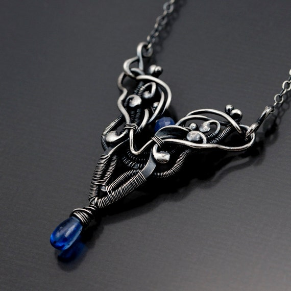 Blue Sapphire Jewelry ,Kyanite Necklace,  Fine Silver Necklace , September Birthstone - Aries