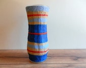 Blue Vase with red and tan stripes / blue and red home decor