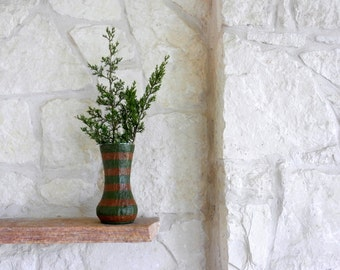 Brown and Green Vase / made to order / Neutral Home Decor / dark brown vase