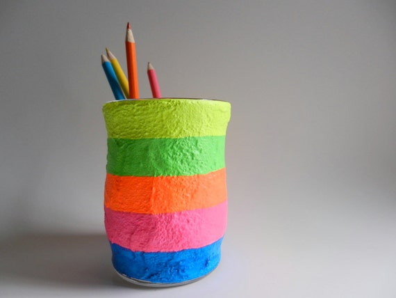 Color Block Neon Pencil Holder Bright Office Decor