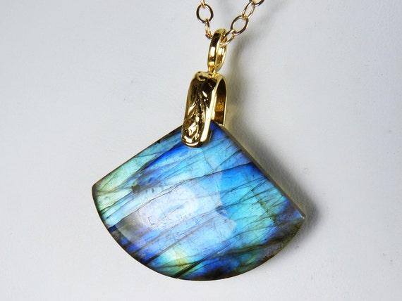Labradorite Necklace, Luminous Labradorite Pendant with Iridescent Cobalt Blue, Cornflower Blue, Sky Blue, and Aqua Flash on a Gold Chain