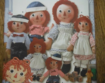 Raggedy Ann n Andy in 3 sizes--UNCUT Patterns-- 40-70% off Patterns n Books SALE