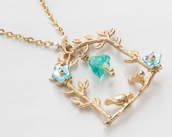 Gold Necklace tree leaf branch with birds aquamarine blue opal glass flowers genuine pearls pendant womens jewelry by Steampunk Nation R1085