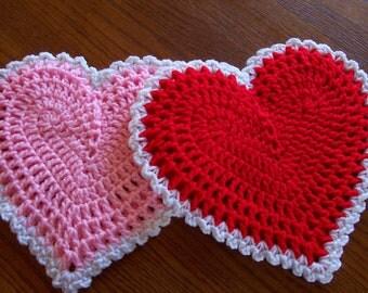Crocheted HEARTS  Wall Hangings / Potholders (pr)