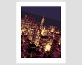 chicago illinois downtown at dusk night lake michigan john hancock building skyscraper city travel poster photo-graphic art print