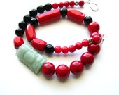 Red Bamboo Coral Necklace Black Onyx Necklace Large Red Bead Necklace Chunky Black Statement Necklace Red Statement Necklace Unique Necklace