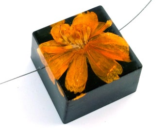 Limited Edition Sale! Yellow Cosmos set into Black Resin Cube.