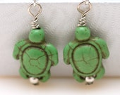 Turtle Howlite Stone Earrings, Green color with Gift Box Item No 97
