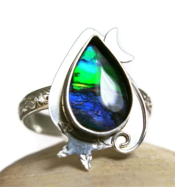 Reserved for Sue, Sterling Silver Ammolite Ring, Blue Rainbow Fossil, Star and Crescent Moon