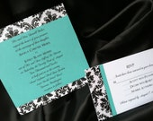 5.5 Inch Square Damask Wedding Invitation Suite