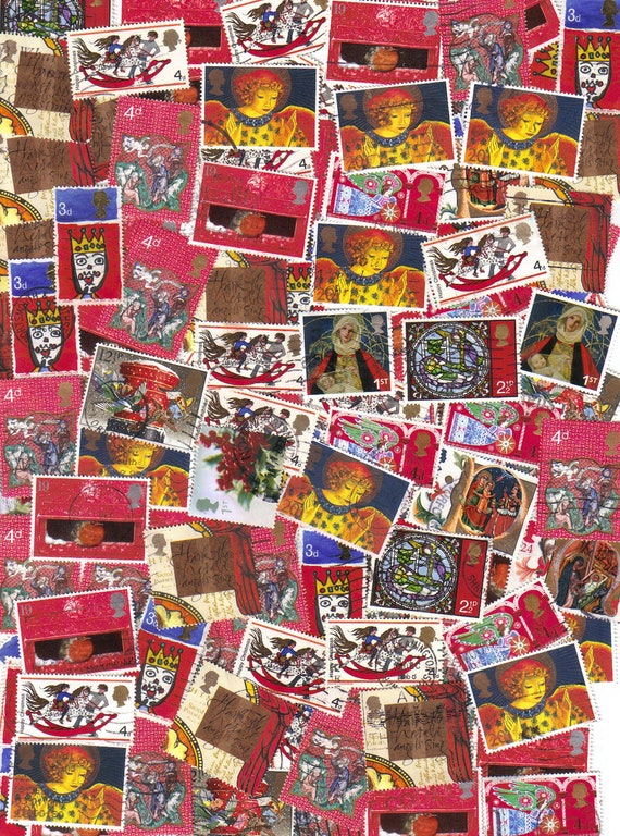 50 Red Christmas postage stamps from England for scrapbooking, card making and altered art