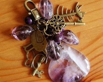 Amethyst funky chunky purse charm dangle natural statement big bold purple stone gemstone boho chic bohemian jewelry unique gem pendant OOAK