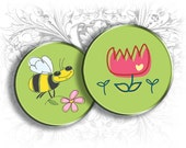 Little Bugs 1 Inch Round Images Digital Collage Sheet Ready to Print