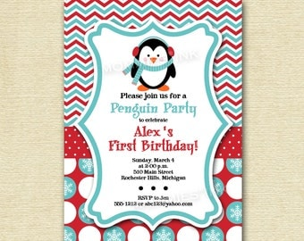 Penguin Chevron and Polka Dots Birthday Invite - Teal and Red - PRINTABLE INVITATION DESIGN