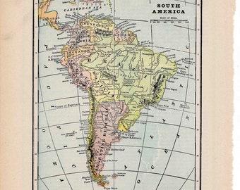1910 south america map original antique lithograph print