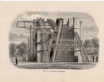 1891 telescope original antique celestial astronomy print