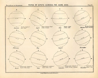 1892 SUN SPOTS LITHOGRAPH print original antique celestial astronomy print