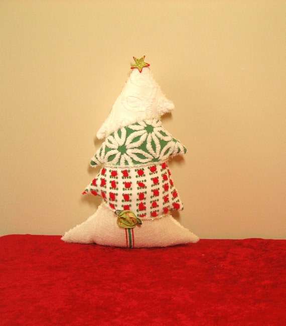 Whimsical Topsy Turvy Vintage Chenille and Linen Christmas Tree Pillow