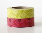 SET of 2 Daisy Washi Tape Yellow Green or Pink Red masking tape