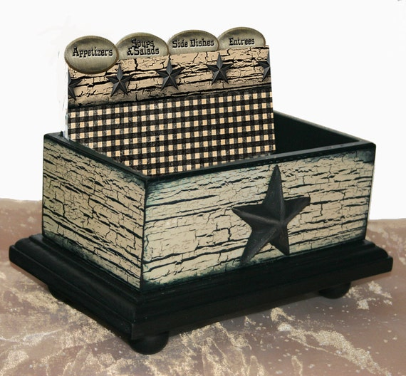 Open Recipe Box Texas Star Crackled 4 x 6 Wooden