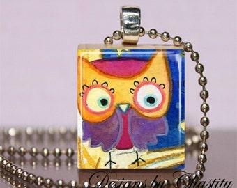 Pretty Owl Scrabble Charm Necklace