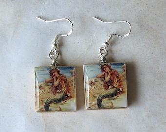 Ocean Mermaid Scrabble Earrings