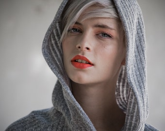 SALE 20% !!!! Gray stripes warm  hood sweater dark grey leather claps
