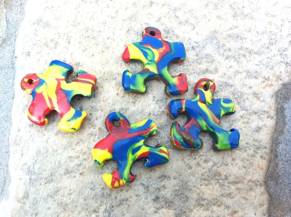Colorful Puzzle Piece Pendant