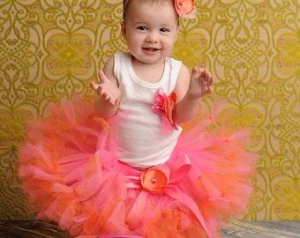 Baby Girls Birthday Tutu Dress Outfit, Strawberrie Tangerine Baby Tutu Dress