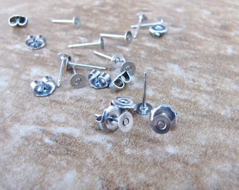 100 pcs 4mm Surgical Stainless Steel Flat Pad Earring 11.7mm Posts and Backs jewelry finding supplies