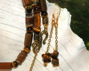 Tiger's Eye Necklace and Matching Dangle Earrings