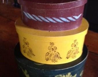 Charming Folk Art Nested Oval Box Set
