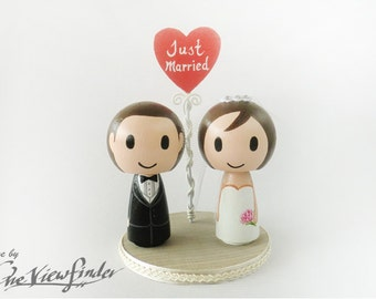 2.75 inches Big Customise Wedding Cake Topper with Heart Message
