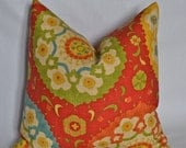Custom 18x18 Pillow Cover - Made to Order - Suzani - Red, Orange, Blue, Green, Yellow, Natural