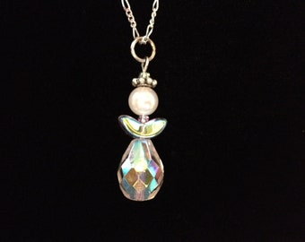 Crystal bead angel necklace