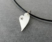 Storybook Heart Necklace 2, Heart and Star Necklace, Sterling Silver Jewelry