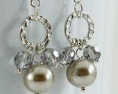 Dangle Earrings, Platinum Pearls and Silver Crystals on Round Hoop, Handmade Jewelry, Trillium Collection