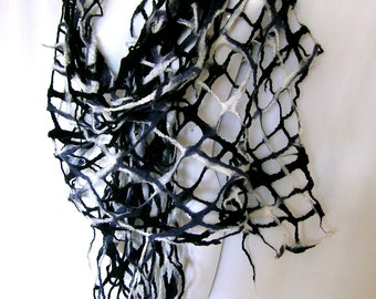 Felt Scarf, Lattice Lacy Scarf, Black White Gray Felted Scarf, Merino Wool Wrap