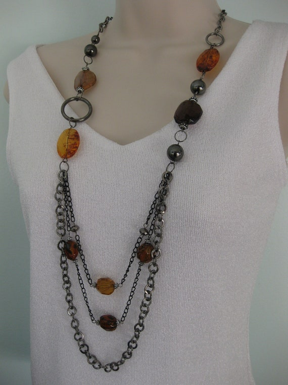 Long Brown Beaded Necklace Multi Strand Chain Gunmetal